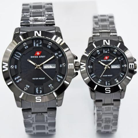 Jam Tangan Swiss Army Couple SK25HB Rantai Full Black