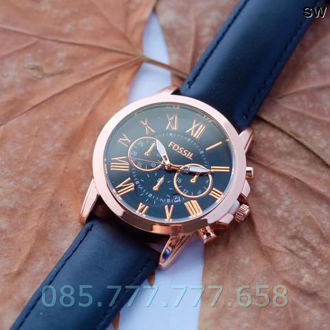 Jam Tangan Pria / Cowok Fossil Romawi Off Leather Black Ring Rosegold