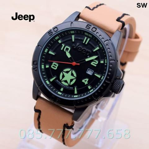 Jam Tangan Pria / Cowok Jeep Star One Leather Brown list Green