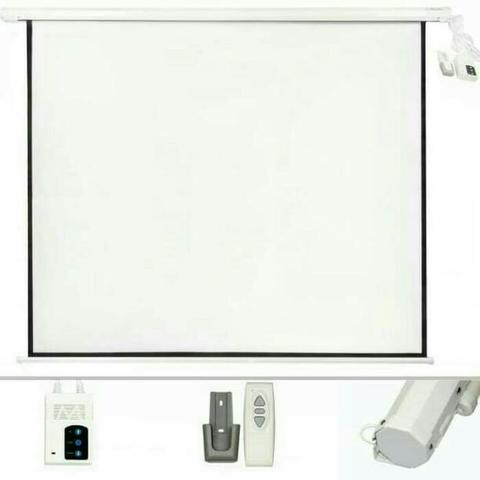 "Screen Projector Motorized 60"" Bisa Gosend / Layar Proyektor Motorized"
