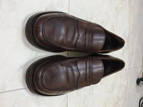 Prada penny brown loafer original not gucci LV hermes bally tods salvatore