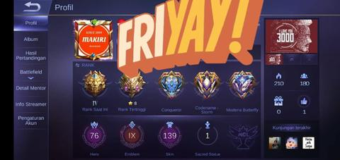 Jual Akun Mobile legend/ Mobile Legends ( 3 legend + 8 Epic Limit)