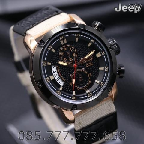 Jam Tangan Pria / Cowok Jeep Chrono Kanvas Cream Rose / KW Super