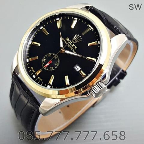 Jam Tangan Pria / Cowok Rolex Automatic Big Size Leather Black Kombi