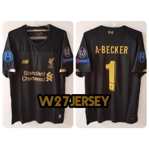 uk availability e00af 6ec5c Jersey Liverpool GK Hitam 2019/2020 name player A.Becker + Patch UCL
