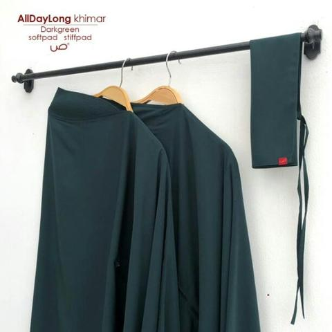 All day long khimar stiffpad Darkgreen L by Shafa Jilbab