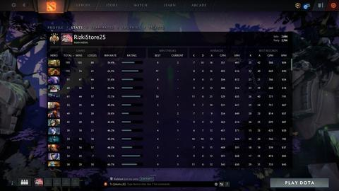 Akun Dota 2 Legend 4 Solo 2686+ Party 2766+ ALL Off