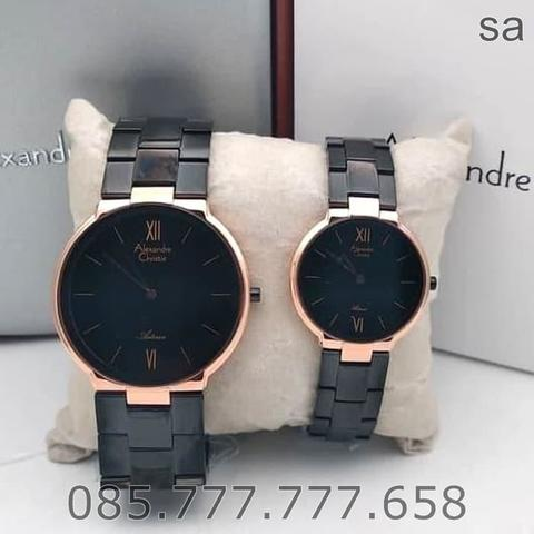 Jam Tangan Couple Alexandre Christie AC 8604 Original - Rosegold Black