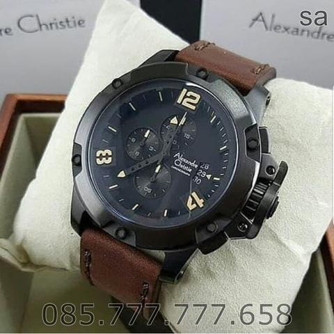 Jam Tangan Pria Alexandre Christie 6295 Original Brown Black