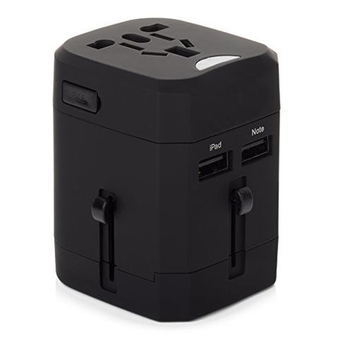 Loop Universal Adapter 4 in 1 US UK EU AU Plug with USB Port - Black