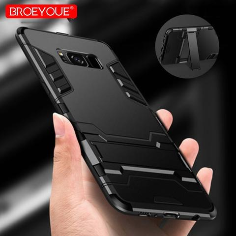 BROEYOUE Armor Hard Case with Kickstand for Samsung Galaxy Note 9 - Black