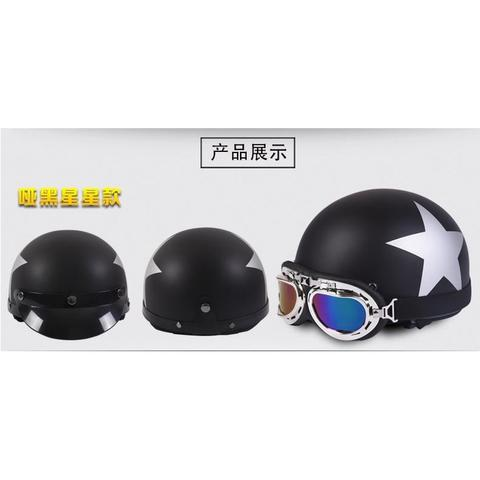 Helm Catok Retro Motor Klasik - Model Star - Black