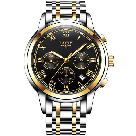 LIGE Jam Tangan Kasual Pria Stainless Steel - Black Gold