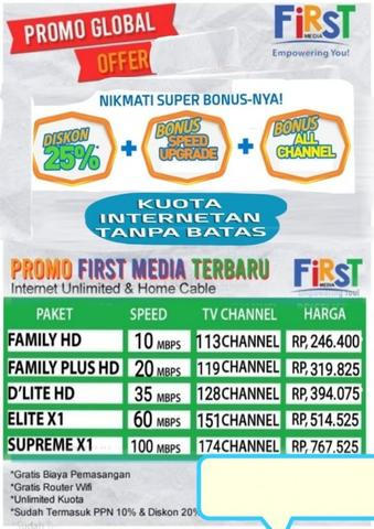 Internet unlimited & tv cable first media