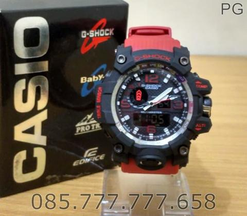 Jam Tangan Sporty Pria / Cowok GWG-1000C Red Rubber