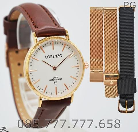 New Available Jam Tangan Wanita Lorenzo 1061L Original Free 2 Strap #5