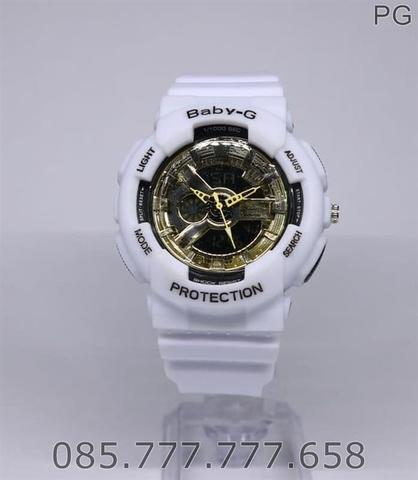 New Jam Tangan Sporty Wanita / Anak BGA-110C White Gold