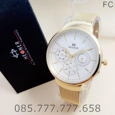 Jam Tangan Hegner Original Wanita BJ 5053 Gold White Box