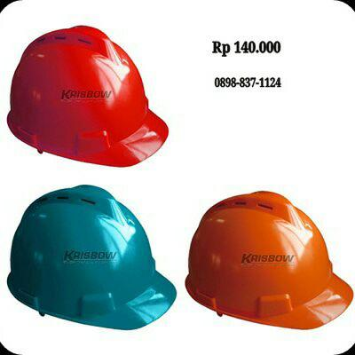 Helm Helmet Front Brim Vented Red-Green-Orange Krisbow KW1000443