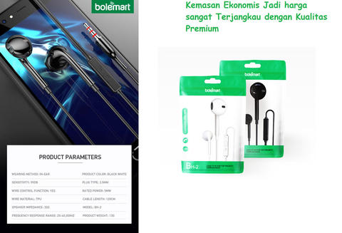 Headset Handsfree Flat Ear Music Headphones Bolemart BH-02 Original