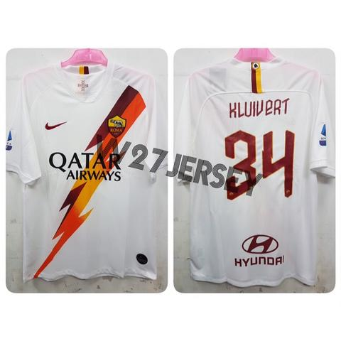 Jersey AS Roma Away 2019/2020 name player Kluivert + Patch Seri A