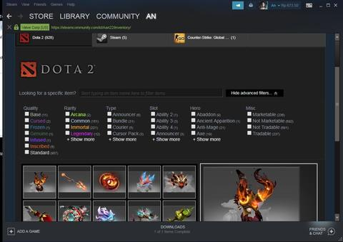 Akun Dota full Immortal