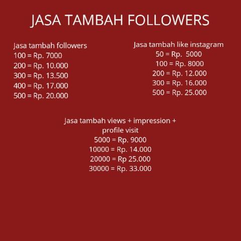 JASA TAMBAH FOLLOWERS TRUSTED 100%