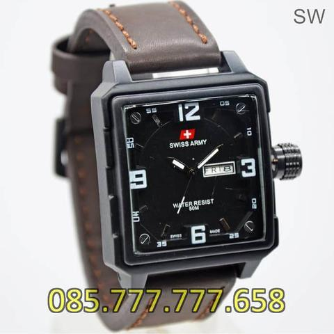 Jam Tangan Pria Swiss Army Daydate SK8027LG Leather Dark Brown