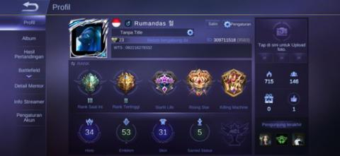 ID Akun Mobile Legends ML Semi Sultan Skin Langka
