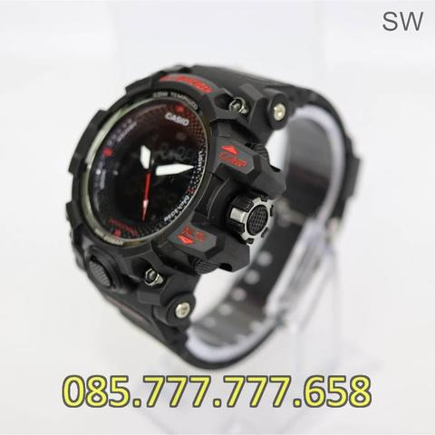 Jam Tangan Pria Anti Air GS 4590 Rubber Black Red