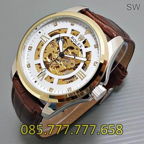 Jam Tangan Rolex Skeleton Big Size Diamond Leather Brown Kombi White