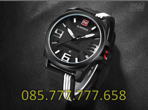 Jam Tangan Pria Naviforce NF3215 Original Rubber Black White