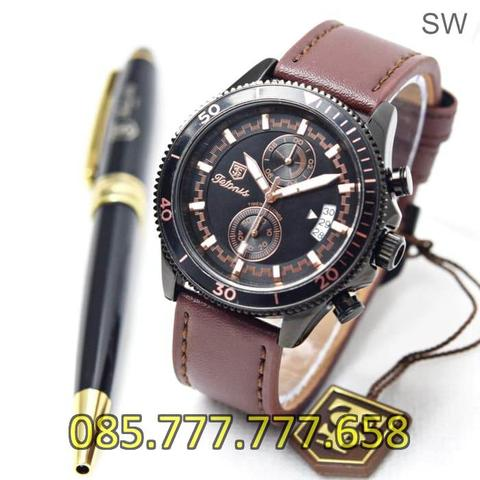Jam Tangan Pria Tetonis Chrono TM875 Leather Light Brown Body Black