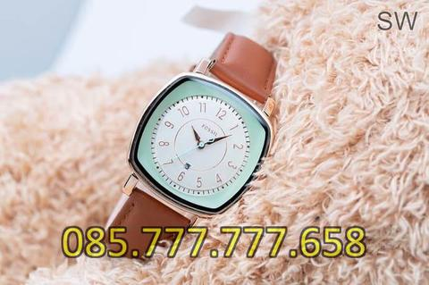 Jam Tangan Wanita Fossil Date Segi SK7018T Leather Light Brown