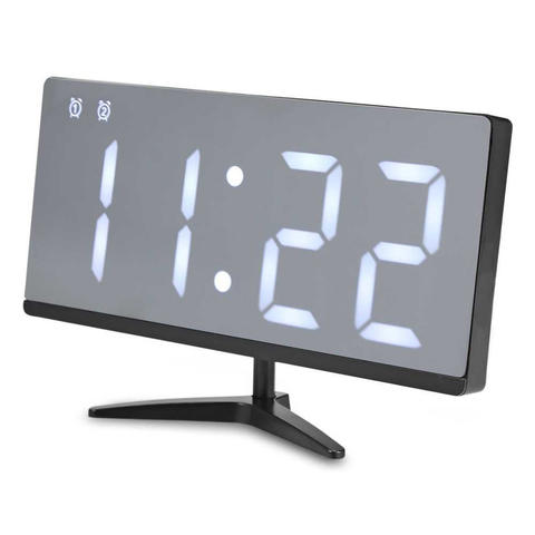 Jam Alaram LUMINOVA Jam Meja LED Digital Mirror Clock with Temperature