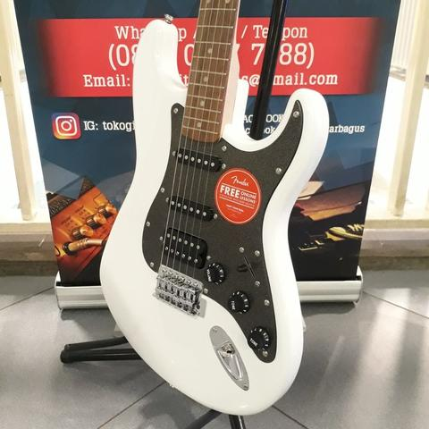 Squier Affinity Series Stratocaster HSS Electric Guitar, Olympic White