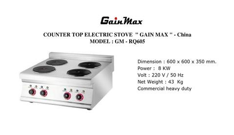 COUNTER TOP ELECTRIC STOVE GAINMAX GM RQ605