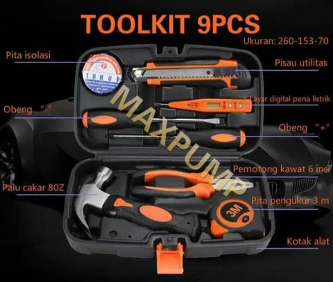 Toolset Lengkap 9 in 1 Toolkit Toolbox Repair Kit Home DIY 9pcs Tools