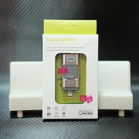 USB OTG Flash disk drive 3in1 Data Iphone Android micro 128 GB silver