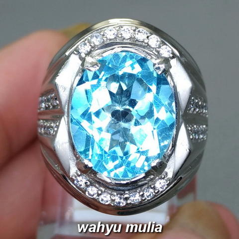 Batu Cincin Natural Swiss Blue Topaz Asli (Kode 1688)