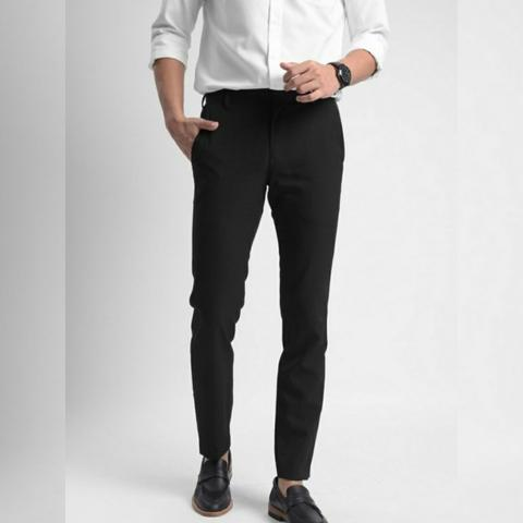 PREPP STUDIO PEAZY PANTS BLACK - Celana Formal Pria Slim Fit Hitam