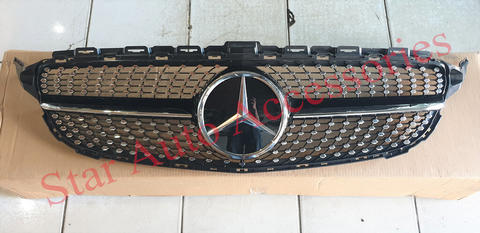 Grill Diamond Mercedes Benz W205 Pre Facelift List Black Logo Kaca