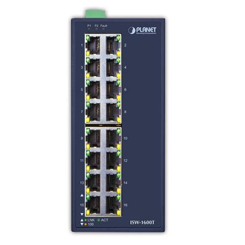 PLANET ISW-1600T Industrial 16-Port 10/100TX Fast Ethernet Switch