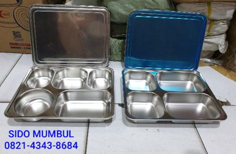 Lunch Box Sekat Stainless Steel Tutup