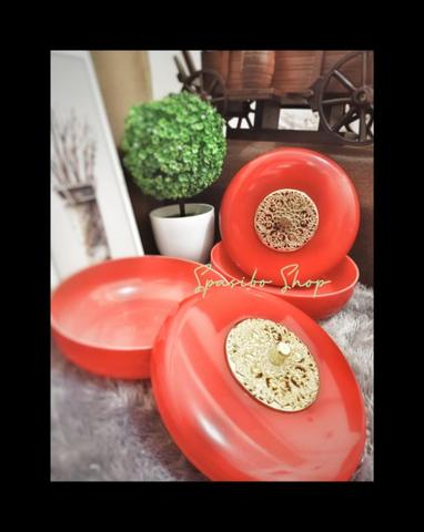 Duo vintage Red chinese cookies Candy Jar - Toples kue permen