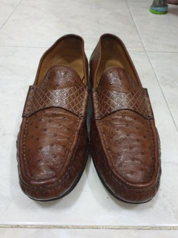 Gucci Guccisima Strap Brown Ostrich Loafer original authentic not LV hermes bally
