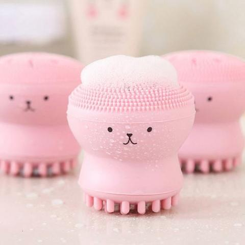 sikat pembersih wajah double sided sponge cleansing brush hsk023