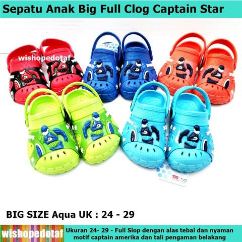 Sandal Clog Impor Anak Captain Star Big Rubber