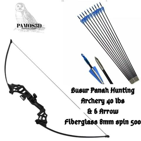 Busur Panah dan Arrow Hunting Archery 40 lbs + 6 Arrow Fiberglass 8mm