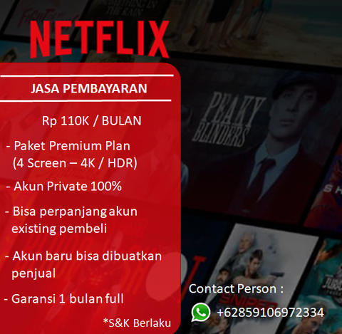 Netflix Private Premium HD 1 Bulan Full Garansi